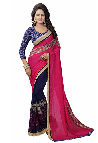 Ishin Faux Georgette Purple & Pink Half & Half Printed Party Wear Wedding Wear Casual Wear Festive Wear Bollywood New Collection Latest Design Trendy Women's Saree/Sari  available at amazon for Rs.399