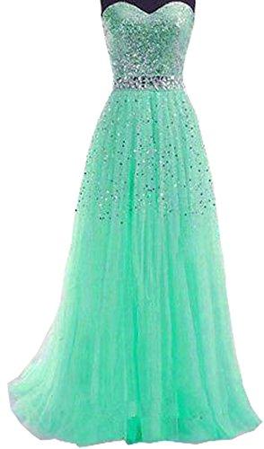 Damen Sexy Elegant Abendkleider Lang Kleider Pailletten Tüll Bandeau Maxi Kleid Festkleid...