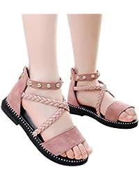 6c9e29d03 Sandalias de Verano para niños Mules para niñas bebé con Corbata Cruzada  Planas onduladas de Metal