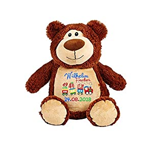 Zug für Kinder, Stofftier, Braun Kuscheltier Teddybär, Geburt Taufe Geschenk, bestickt mit Geburt Stats – Datum Namenplüschtier