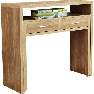 Modern Oak Console Table With Pull Out Desk And Two