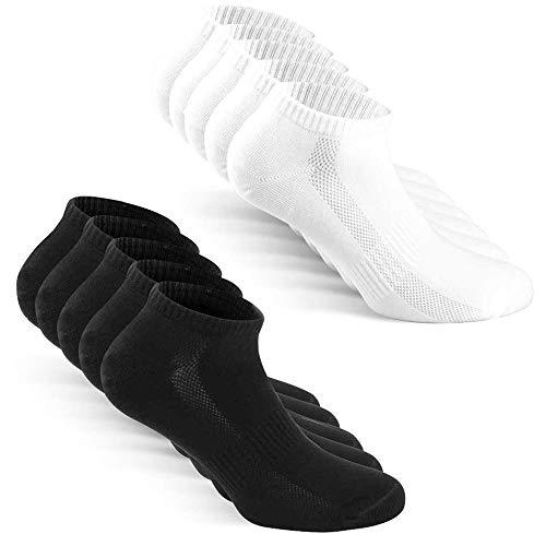 TUUHAW Sneaker Socken Herren Damen Sportsocken 10Paar Halbsocken Kurze Atmungsaktive Baumwolle Schwarz-Weiß 39-42