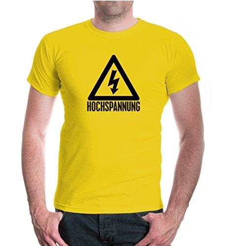 buXsbaum® Herren Unisex Kurzarm T-Shirt bedruckt Hochspannung | Elektriker Symbol Schild | L yellow-black Gelb