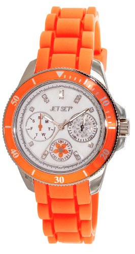 Jet Set J50962-148 Amsterdam Ladies Watch – Analogue Quartz – Mother of Pearl Dial – Orange Rubber Strap