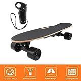 Bunao Elektro Longboard E Skateboard Elektrisches City Scooter Elektrolongboard mit Fernbedienung und Motor   Reichweite Ca. 10 km, Geschwindigkeit 20km/h (Schwarz 2)