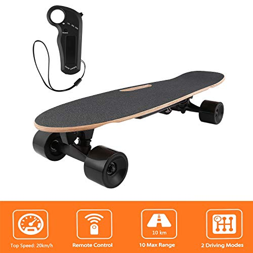 Bunao Elektro Longboard E Skateboard Elektrisches City Scooter Elektrolongboard mit Fernbedienung und Motor | Reichweite Ca. 10 km, Geschwindigkeit 20km/h (Schwarz 2)