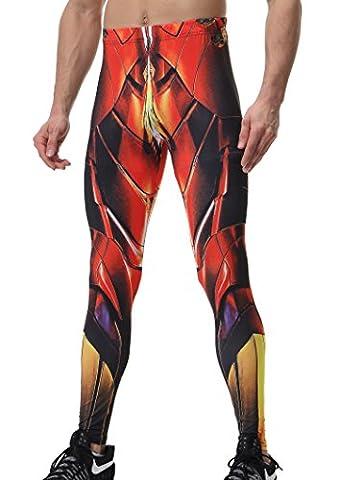 Red Plume Herren Kompression Hosen Base Layer Schnell Trocken Workout Skinny Slim Fit Lange Hosen Leggings Superheld Fashion (Kühle Superheld Kostüme)