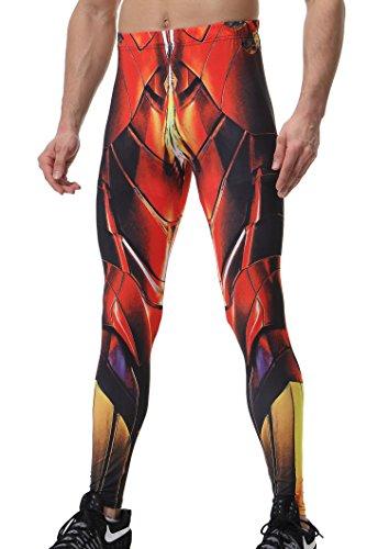 Red Plume Herren Kompression Hosen Base Layer Schnell Trocken Workout Skinny Slim Fit Lange Hosen Leggings Superheld Fashion (Kostüme Verkauf Superhelden)