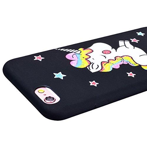 HB-Int für iPhone 6 / 6S Hülle Silikon Einhorn Regenbogen Stern Muster Matt Schutzhülle Transparent Flexible Bumper Back Case Ultra Dünn Handytasche Schwarz