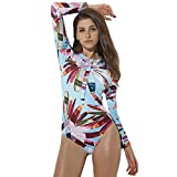 iYmitz Damen Badeanzug Rash Guard Langarm Surfanzug UV-Schutz Surfen Frauen Bademode (Mehrfarbig,M)