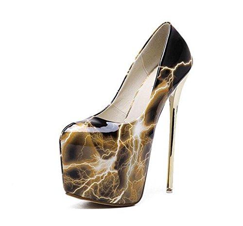 GLTER Frauen Knöchelriemen Pumps Court Schuhe Blitz High-Heeled Charming Temperament Shallow Mund Schuhe Closed-Toe Pumps Gold