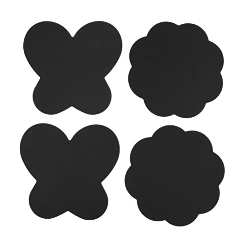 non-brand MagiDeal 4 Stück Faltbare Farbpalette Mischpalette Farbmischpalette aus Silikon, Blumen und Schmetterling Muster - Schwarz