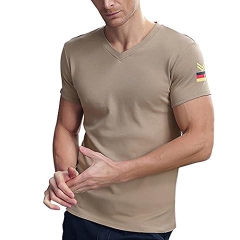 WALK-LEADER - T-shirt de sport - À logo - Col V - Manches Courtes - Homme - marron - Large