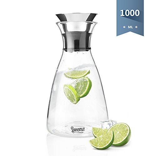 Sweese Karaffe - 1000 ml Wasserkrug Hitzebeständigkeit Wasserkaraffe mit Edelstahl und Silikon Tropf-Freie Lippe, Glaskaraffe Serving Hausgemachte Säfte und Eistee, Wein oder Glas Milchflaschen