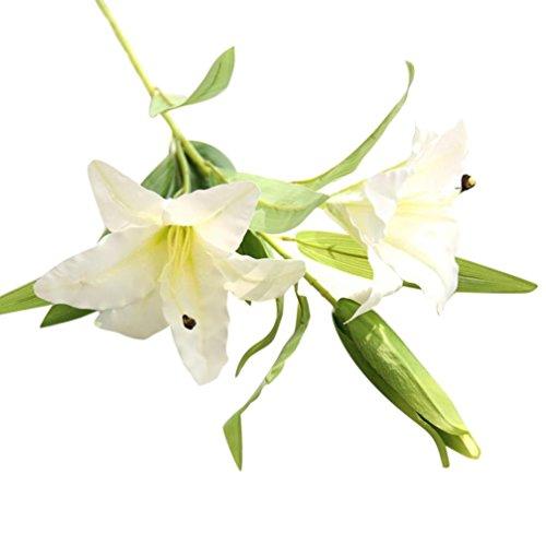 Künstliche Blossom Calla Lily Hochzeit Bridal Bouquet Fake Blumen DIY Home dekorativer 2Köpfe mit 1Knospe und Blätter weiß