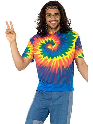 änner Männer 60er Jahre Tip Dye Flower Power Hippie Kostüm mit Buntem Shirt, perfekt für Karneval, Fasching und Fastnacht, L, Blau ()