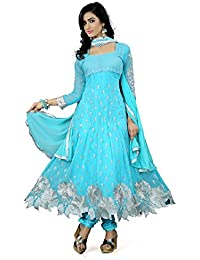 Prabhuta Enterprise Georgette Women Semi-Stitched Salwar Suit (Pe564_Blue_Free_Size)