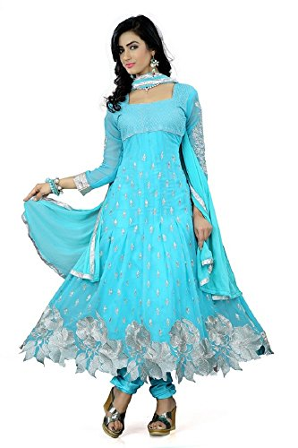 Prabhuta Enterprise Georgette Women Semi-Stitched Salwar Suit (Pe564_Blue_Free_Size)