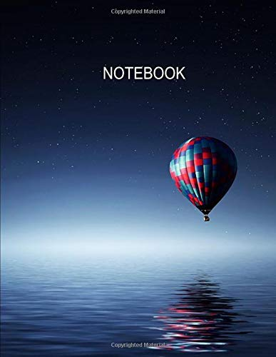 Notebook. Hot Air Balloon Cover Design. Composition Notebook. Wide Ruled. 8.5 x 11. 120 Pages. - Spinner Banner
