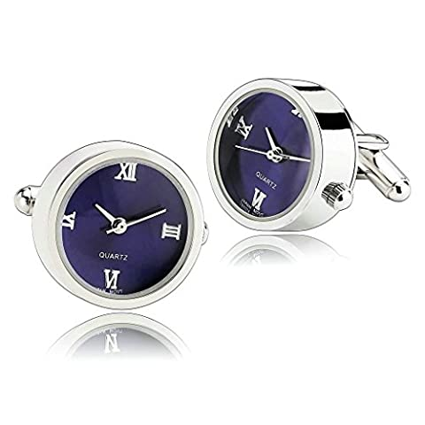 AnaZoz Fashion Jewelry Stainless Steel Mens 1 Pair Cufflinks Functional Working Watch Blue Men's Cuff Links
