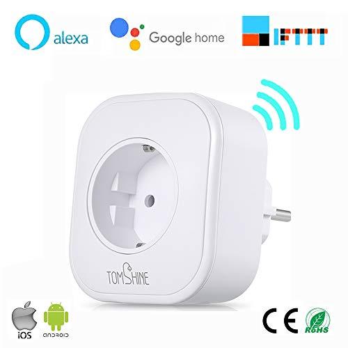 Enchufe Inteligente Wifi,Tomshine Inalámbrico Smart Monitor de Energía del Zócalo del Interruptor Compatible con Amazon Alexa y Google Home e IFTTT, con Control Remoto/Control de Voz