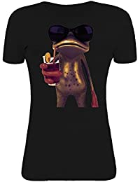 Bronze frog drinking coctail vintage artwork Womens T-Shirt