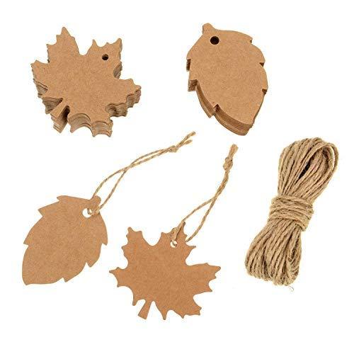er-bestchanceus 200Stück Papier Ahorn und Leaf Geschenk hängen Label mit Bindfäden 20m für Weihnachten Thanksgiving Hochzeit Halloween DIY-Geschenk Tags ()