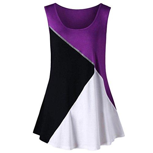 (TUDUZ Große Größen Elegant Oberteil Damen Armelloses Asymmetrische Kontrast Stiche FarbblockWeste Tank Tops T-Shirt)
