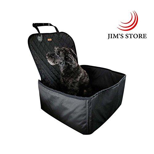 JIM'S STORE Copertura sedile per cani, 2 in 1 pieghevole & Impermeabile & Antiscivolo Cane singolo Tappetino anteriore Benna per animali da compagnia Coprisedile (Nero)