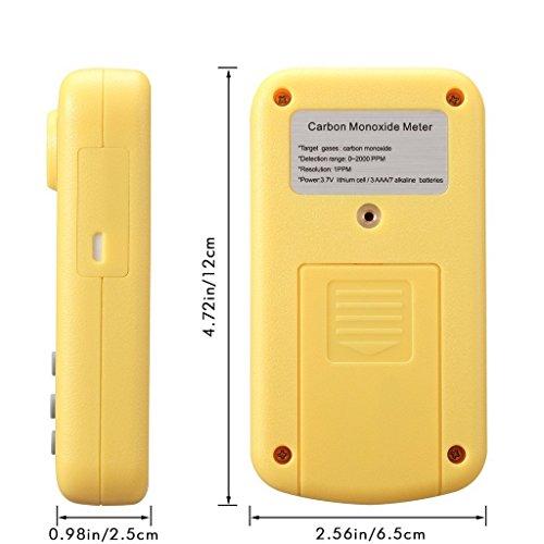 Tonor Tragbar 0-2000ppm Kohlenmonoxid-Detektor Brennbarer Gas-Detektor Warngerät Alarm Gasmelder Gaswarner Tragbarer Gasübertritt Tester mit Ton Licht Vibration Gas Tester Monitor Warnmelder Sicherheitsüberwachung Gelb - 6