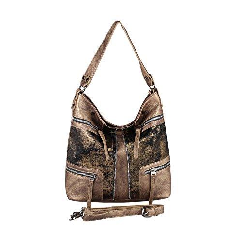 OBC DAMEN HOBO BAG TASCHE SHOPPER METALLIC Schultertasche Umhängetasche Handtasche Henkeltasche Beuteltasche (Taupe-Bronze 35x29x13 cm) (Bronze Hobo)