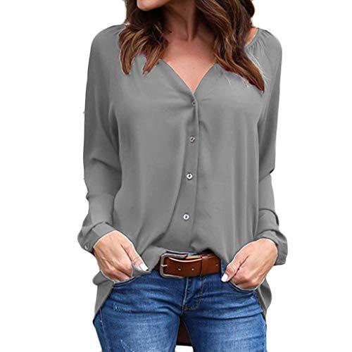 TianWlio Polo Shirt Damen Business Blusen V-Kragen Gefaltete Knopf Lange Hülsen Lose Chiffon Jacken Oberseiten