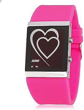 Schöne Uhren, Damen Herz-Muster-LED Digital-Silikon-Band-Armbanduhr (verschiedene Farben)