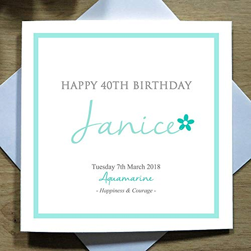 Personalised Handmade Greeting Card March Aquamarine Birthday Card For Her Birthstone Custom Name Date Designed Printed By Marvello