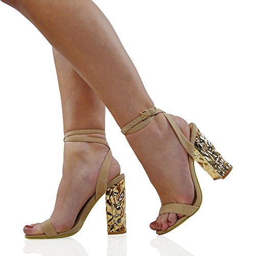 ESSEX GLAM Sandalo Donna Sintetico Barely There Cinturino Caviglia Cromato Tacco a Blocco Festa Carne Finto Scamosciato