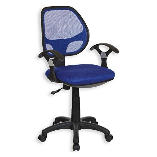 Kinderdrehstuhl Schreibtischstuhl Drehstuhl Bürodrehstuh COOL, 5 Doppelrollen, Sitzpolsterung, Armlehnen, in blau