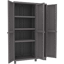 Terry armario de resina antirrobos 102 x 39 x 170 cm 3 puertas 3 estantes, para exterior jardín y balcón