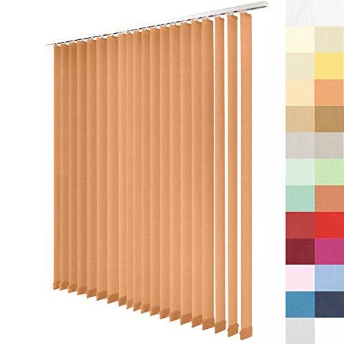 SUNWORLD Lamellenvorhang nach Maß, 27 Farben, Maßanfertigung, alle Größen, Lamellen, Schiebevorhang, ohne Deckenschiene, Vertikaljalousie (Apricot, Höhe: 250cm x Breite: 175cm)