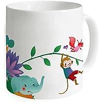 """okoukiu simpatici animali Scimmia e elefante bianco mug–Tazza da tè personalizzato regalo per compleanno, Natale e nuovo year-3.7""""X 3.1"""", 11oz"""