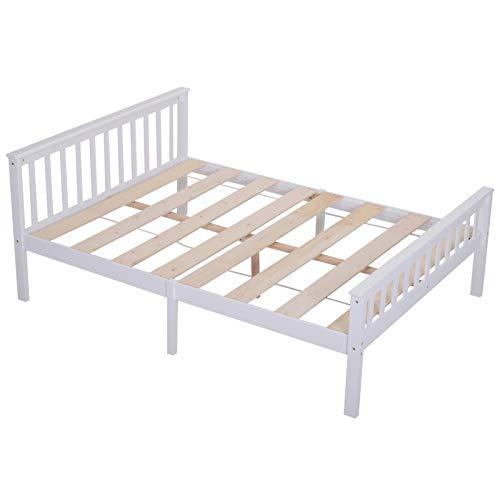 HOMCOM Bett Holzbett Bettgestell 140 cm Doppelbett Kiefer massiv inkl. Lattenrost einfache Montage mit Stauraum Weiß 218 x 143 x 82 cm 250 kg Belastbarkeit