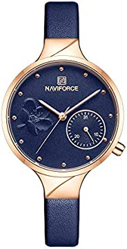Naviforce NF5001 womens Watch, Analog and Genuine Leather - NF5001-RGBEBE