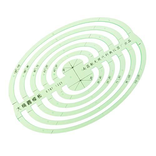 P Prettyia 1pcs Plastik Zeichnungsschablonen, Die Geometrische Machthaber Messen für Schüler - Große ovale, 14,2 x 10 cm