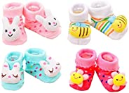 BabyGo Pack of 4 pairs Cartoon Baby Booties Socks Slippers 0-6 Months (Girl Designs)
