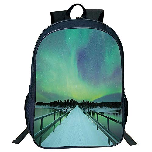 HOJJP Schultasche Stylish Unisex School Students Black Northern Lights,Long Mystic Sky Over Bridge in Snowy Arctic Frozen River Image,Lime Green Petrol Blue Kids,