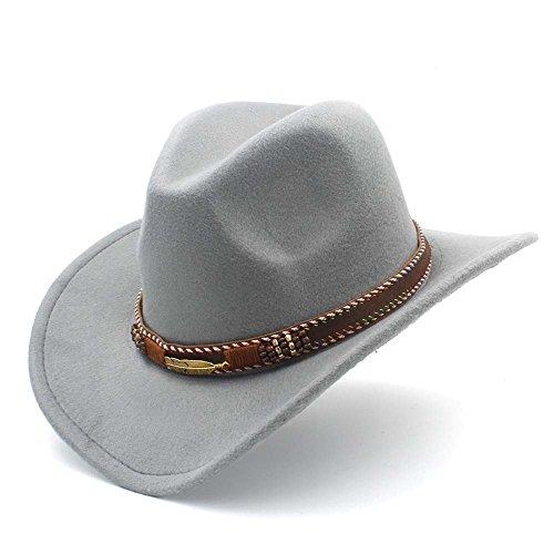 XXY Frauen Männer Western Cowboyhut Mit Roll Up Rand Fedora Sombrero Hombre Caps Mode Hut (Farbe : Grau, Größe : 56-58cm)