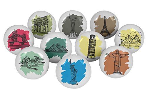 Welt Schublade Knöpfe (IBA Indianbeautifulart Mehrfarbig Welt Monumente Runde 2 Türgriffe Rund 2 Zoll Schrank Schublade Zieht Für Kommode Keramik Knöpfe)