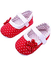 Mishlee Baby Girl Sandals, Baby Girl Booties, Polka Dot Shoes-Red Color