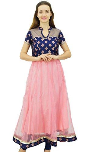 Bimba À Long Anarkali Partie Robe Kurti Des Femmes Porter Kurta Tunique Net De Vêtements Ethniques Indiens Bébé Rose