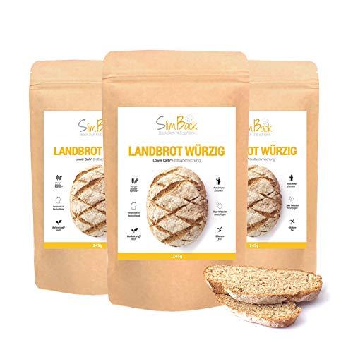 SlimBack - Lower Carb Landbrot Würzig (Brotgewürz) - 3er Pack - Brot Backmischung - Weniger Kohlenhydrate* | Glutenfrei | Ballaststoffreich | Sojafrei | Eiweißbrot ohne Getreide