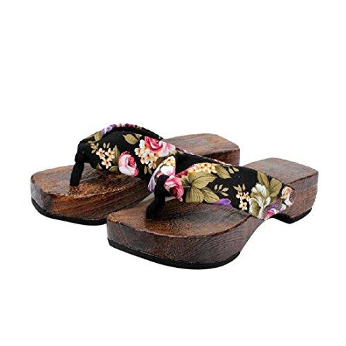 Gusspower Sandalias Casuales Zapatos De Playa Sandalias Romanas Chanclas De Damas Plataforma De Verano Zapatos Mujer Zuecos De Madera Madera Chanclas Sandalias Zapatillas (39, Negro)